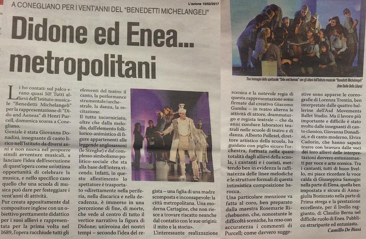 Recensione Didone ed Enea Opera lirica, regia Giacomo Gamba