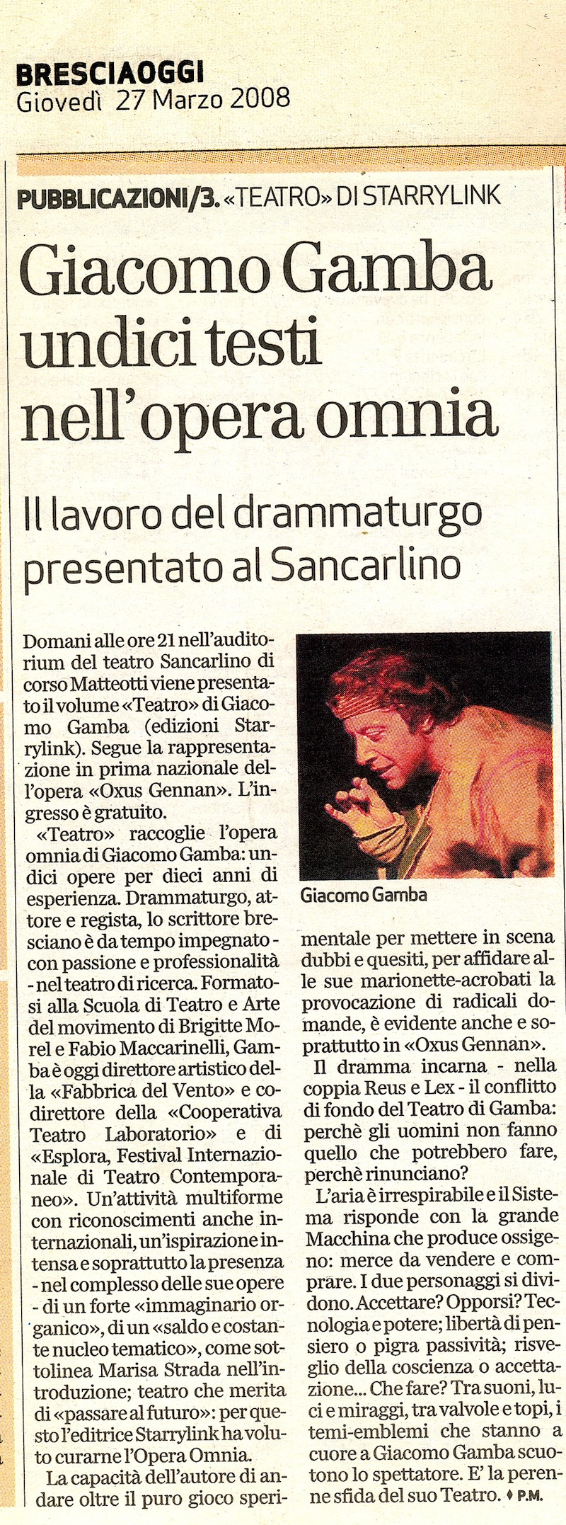 Opera omnia teatro di Giacomo Gamba