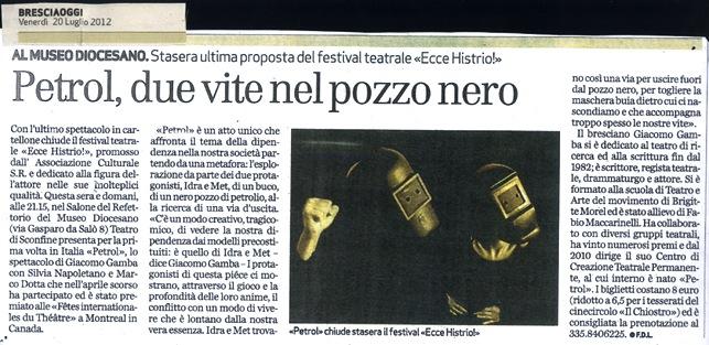 Petrol di Giacomo Gamba al Festival Ecce Histrio