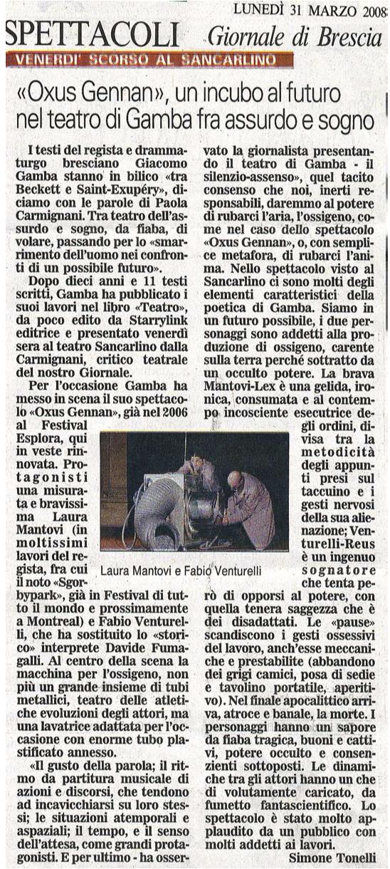 Recensione di Oxus Gennan di Giacomo Gamba