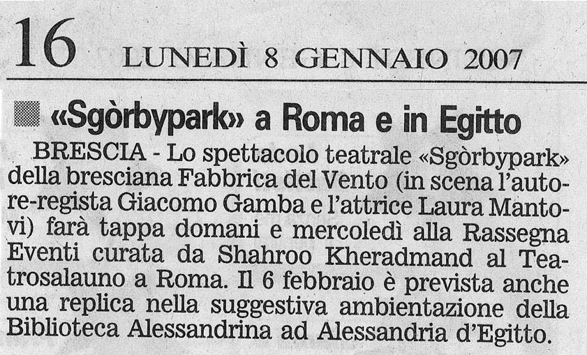 Sgòrbypark di Giacomo Gamba a Roma e in Egitto