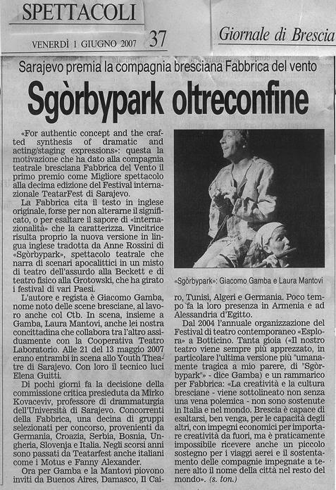 Primo premio internazionale per Sgòrbypark